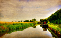 Canal Boat on Textured Background